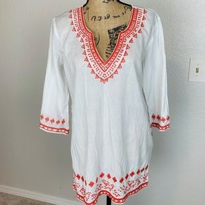 Kaktus Embroidered White Beach Blouse / Cover up